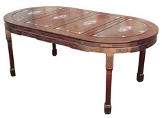 Chinese Rosewood & Mother of Pearl Dining Table on Chairish.com