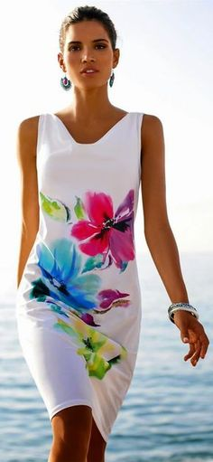 Beach dress in the color multi-coloured - white, blue, pink, green - in the MADELEINE online collection Beach Dresses, Short Dresses, Summer Dresses, Dress Beach, Floral Fashion, Fashion Dresses, Fashion Styles, Color Fashion, Fashion Trends