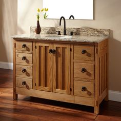 "48"" Mission Hardwood 7-Drawer Vanity with Undemount Sink"