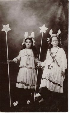 ▫Duets▫ sisters, twins & groups of two in art and photos - Edwardian Girls Dressed as Moon Fairies