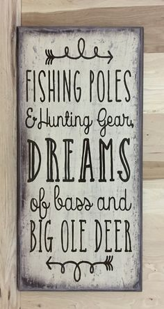 This fishing sign would make any fishermans day to get as a gift. FEATURES -This sign is approximately 12x24 inches. -There is a sawtooth hanger on the back for easy hanging. -The words are done with professional grade vinyl. Color choices are: -Black/gray with white lettering -Red/black with cream lettering -Gray/brown with brown lettering -Cream/brown with brown lettering (as shown in first two pictures) -Whitewash with black lettering -Brown whitewash with brown lettering -Brown combo…
