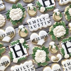 15 Wedding Cake Alternatives for Modern Couples - DuJourYou can find Wedding cookies and more on our Wedding Cake Alternatives for Modern Couples - DuJour Wedding Shower Cookies, Cookie Wedding Favors, Wedding Desserts, Decorated Wedding Cookies, Wedding Cake Cookies, Wedding Showers, Iced Cookies, Royal Icing Cookies, Sugar Cookies