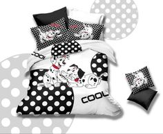 Cute White/Black Spotted Dog Comforter Sets 4pcs,100% Cotton Lovely Dalmatians Pattern Bedding Full Queen Duvet Cover Bed sheets $96.00