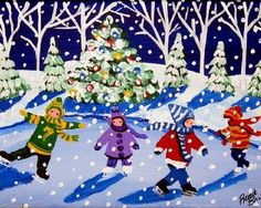 """""""Little Ice Skaters"""" by Renie Britenbucher Giclee print; Christmas Drawing, Christmas Paintings, Christmas Art, Winter Painting, Painting For Kids, Art For Kids, Winter Art Projects, Naive Art, Whimsical Art"""