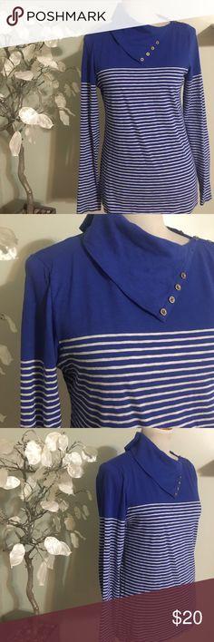 J.CREW SHIRT Beautiful STRIPER , 100% cotton, it can be worn as turtleneck as well J. Crew Tops Tees - Long Sleeve