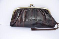 6b9b814b76 Vintage brown snakeskin leather clutch bag handbag jocasi london 70s 1970