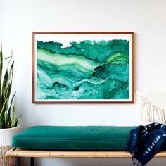 DRAMATIC OVERSIZED PRINT, FRAMED and READY TO HANG! A print of teal and emerald greens show the layered depths of the ocean and its activity from the