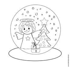 Warten auf Weihnachten Ausmalbild Schneekugel Engel Weihnachtsbaum Geschenk für Kinder Printable Freebie von Hallo liebe Wolke