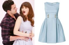 Zooey Deschanel wearing a blue Orla Kiely dress with anchor buttons in the New Girl season 3 promo