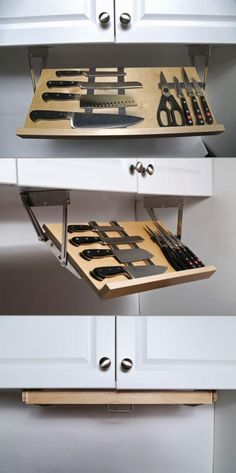 Everyone could use just a little more counter space, right? The Drop Block removes clutter from your counters and allows you to store and see your entire selection of knives at a glance. Not only will you get some room back, but your knives are tucked away safely under your cupboards, far away from little hands.