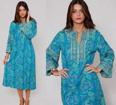 Vintage 70s RAMONA RULL Turquoise Floral Caftan Maxi Dress  by LotusvintageNY,