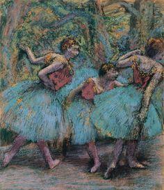 Edgar Degas, Trois Danseuses (Jupes Bleues, Corsages Rouges)-Three Dancers (Blue Tutus, Red Bodices)  on ArtStack #edgar-degas #art