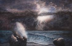 Watercolour paintings of light in landscapes, seascapes and portraits by Einar Aasen. Using colours to feature light and textures. Watercolor Landscape, Watercolor Paintings, Watercolour, Stormy Night, Colours, Landscapes, Weather, Portraits, Outdoor