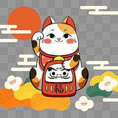 kucing beruntung,maskot,kucing,uang,semoga berhasil,keinginan,perabot,jepang,budaya,menyenangkan,kucing beruntung,jepang,tradisi,kartun Maneki Neko, Kawaii, Japan, Traditional, Abstract, Cats, Drawings, Style, Stickers
