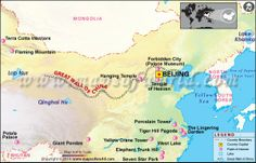 Map showing country boundary, points of interest, lakes and Great Wall of China China Map, China Travel, Travel Maps, China Facts, False Facts, Pagoda Garden, China Russia, Great Wall Of China, Wall Maps
