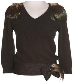 Embellished Jumper Feather & Sequin - Vintage clothing from Rokit - jumper, embellished jumper, knitwear, 20s knitwear
