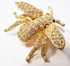 Vintage Kenneth Jay Lane Rhinestone Bee Pin by GretelsTreasures