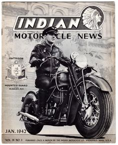 Indian Motorcycles Ad from 1942 Bike Poster, Motorcycle Posters, Motorcycle Types, Motorcycle Art, Bike Art, Scrambler Motorcycle, Indian Motors, Indian Motorbike, Vintage Indian Motorcycles