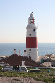 Gibraltar Lighthouse of Morocco Built in 1864 Lighthouse Lighting, Lighthouse Art, Rock Of Gibraltar, Grands Lacs, Lighthouse Pictures, Beacon Of Light, Light Of The World, Old Buildings, Malaga