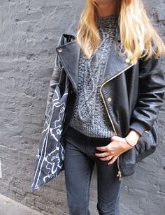 style-from-scratch:    Lusting after the sold out Consequence leather jacket from Stine Goya, as worn by Anywho bloggers here…
