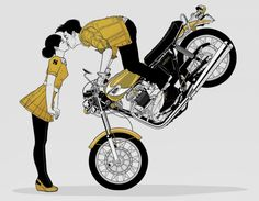 Art from a CD cover of a group called twinshadow.  Never heard of 'em, but like the graphic of a guy doing a front-wheel stand on a vintage Triumph to kiss his girl.