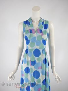 70s Watercolor Dots Maxi Dress inblues, aqua and purple on white. v-neck, defined waist.  med lg by BeeDeeVintage on Etsy