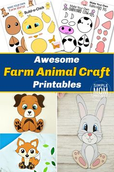 Here it is! An awesome set of our most popular Farm Animal Crafts for your kids to make. These easy, diy indoor crafts for your kids are complete with color or black & white printable templates & include horse crafts, cow crafts, pig crafts, chick crafts & more. Making perfect art projects for toddlers or preschoolers to create, they'll bring the fun of the farm to your house. Click here & download your farm animal crafts today. #FarmCrafts #FarmAnimalCrafts #Horsecrafts #Cowcrafts… Farm Animal Crafts, Fox Crafts, Animal Crafts For Kids, Horse Crafts, Farm Animals, Dog Template, Printable Templates, Printable Crafts, Barnyard Dance