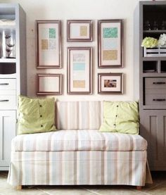 Upholstered banquette plans from Ana White. Uses 2x4s and upholstery foam. This would save space and add seating in the dining room.
