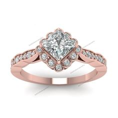 Beautiful 14K Rose Gold Princess Cut Clear Diamond Engagement Ring in Bezel Set #br925silverczjewelry #SolitaireWithAccents
