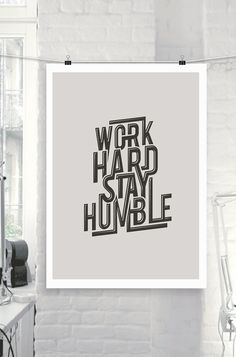"""Printable Art Steve Jobs Motivational Quote """"Work Hard Stay Humble"""" Black and White Typography Art Wall Decor Poster"""