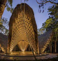 Co-Lab Design Office builds Luum Temple, a catenary bamboo yoga pavilion in Tulum Sacred Architecture, Bamboo Architecture, Parametric Architecture, Tropical Architecture, Vernacular Architecture, Parametric Design, Amazing Architecture, Architecture Design, Tulum Mexico