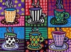 Loving the patterns. Think that I will do this with hot cocoa this winter with graders good for pop art Winter Art Projects, School Art Projects, Christmas Art Projects, Diy Projects, Arte Elemental, Classe D'art, Coffee Cup Art, Coffee Poster, 4th Grade Art