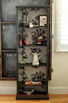Dumpster Bookshelf Major Upcycle, also like chalkboard in background on hinges...corkboard on other side..?