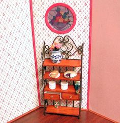 OOAK Wood and wrought iron baker's rack 2 by AuntElliesMiniatures