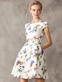 White Floral Cap Sleeve High Waist Skater Dress