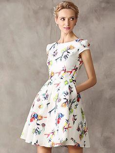 White Floral Cap Sleeve High Waist Skater Dress