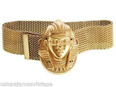 Vintage Miriam Haskell Egyptian Revival Pharoah Head Slide Bracelet Russian Gold