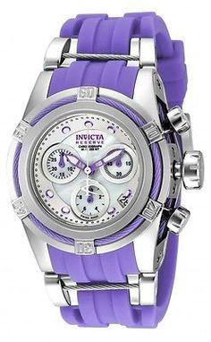 New Womens Invicta 18685 Bolt Reserve Zeus Purple Rubber Strap Watch