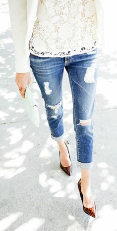 Ripped Jeans + Lace ღ