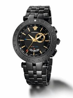 The Versace, V-Race GMT & Alarm watch, a sport-loving bestseller with globetrotting functions. Iwc Watches, Army Watches, Cool Watches, Watches For Men, Pocket Watches, Patek Philippe, Rolex, Luxury Watches, Versace Watches