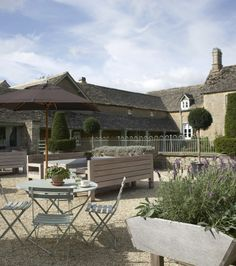 pale French blue/grey bistro garden furniture - The Paper Mulberry: First impressions - exterior paint shades
