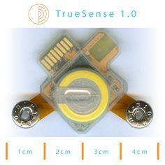 TrueSense DIY Input kit - biosignal sensor kit for reading EEG, EKG, EMG, motion, environmental electromagnetic pollutions. 3 main components: sensor, memory module, controller. ZigBee. Rechargeable LIR2032 button cell battery.