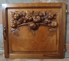 21.81 in ART DECO / NOUVEAU Antique French Bronze Fruit Walnut Carved Wood Panel…