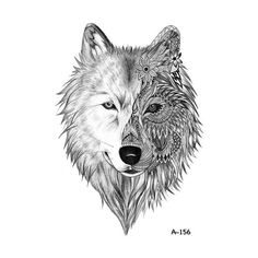 Wyuen Hot Design Fox Wolf Temporary Tattoo for Adult Waterproof Tatoo Sticker Body Art Watercolor A-091 Fake Tattoo Man Woman