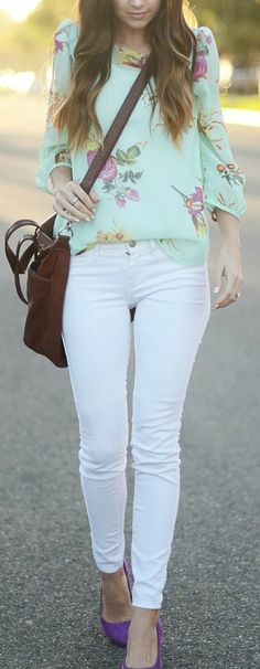 Floral Blouse + White Skinny Jeans