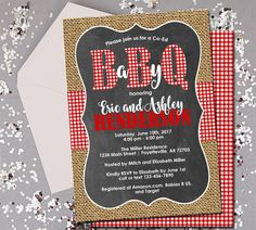 BabyQ Baby Shower Invitation, Couples Shower, Co-ed Baby Shower, BBQ, BabyQ, Invitation, Baby Shower, Rustic, Printable 5x7 by ThePaperTrailCo on Etsy https://www.etsy.com/listing/239764436/babyq-baby-shower-invitation-couples