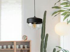 Industrial Black and Transparent Glass Ceiling Lamp, Pendant Light MURRAY Beliani, Decor, Glass Pendant Lamp, Lamp, Black Pendant Lamp, Lighting Inspiration, Glass Ceiling Lamps, Glass Ceiling, Ceiling Lights