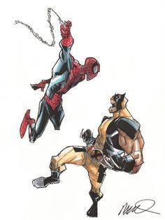 Humberto Ramos - Spider-Man vs. Wolverine (colored)