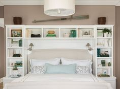 DIY Headboard Storage Collections For Your Perfect Bedroom is part of Bedroom headboard - If you like unique items and practical, this one bed is perfect for you This is a new folding headboard bed which is very unique The previously you have Headboard With Shelves, Bookcase Headboard, Bedroom Bookshelf, Home Bedroom, Bedroom Decor, Master Bedroom, Bedroom Ideas, Bedroom Wall Units, Ikea Small Bedroom