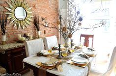 Natural Elements and Metallic Tablescape - Home Stories A to Z